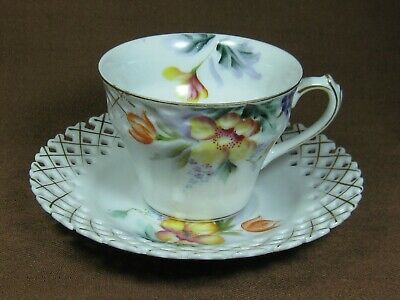 Princess China Hand Painted Cup and Saucer Flowers Gold Trim Reticulated Saucer
