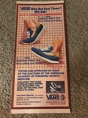 Vintage 1982 VANS SERIO STYLE 152 RUNNING SHOES Poster Print Ad 1980s RARE f8c6e942c
