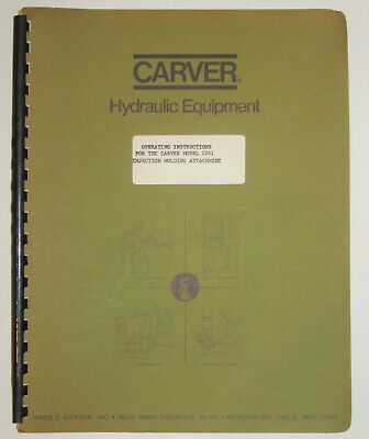 Carver Hydraulic Equipment Model 2261 Injection Molding Operating Owners Manual