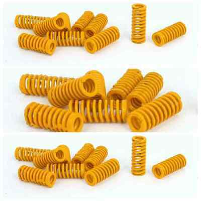 8mm OD 20mm Long Light Load Stamping Compression Mould Die Yellow Spring 10pcs