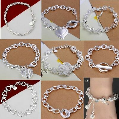 HIGH QUALITY 925STERLING SOLID SILVER Chain Bangle/Bracelet Jewellery+Gift bag