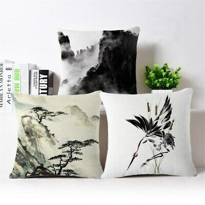 "18"" Chinese ink painting Mountain Throw Pillow Case Cushion Cover Home Decor"