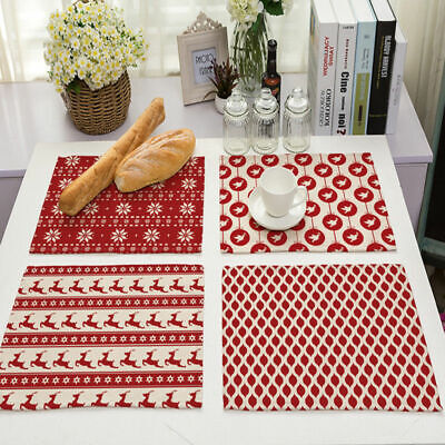 Geometric Abstract Stripes Cotton Linen Placemat Dining Table Mat Home Kitchen