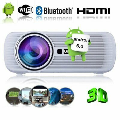 Android6.0 7000Lumens 3D HD WIFI Home Cinema Theatre Projector HDMI Bluetooth MK