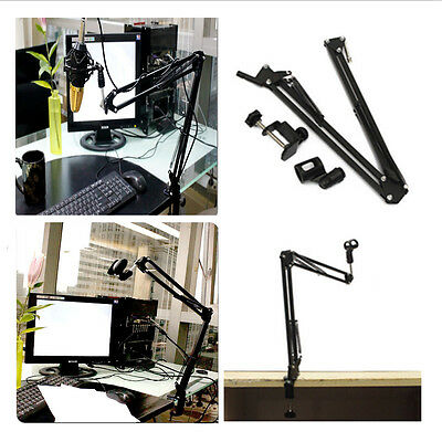 Mic Microphone Suspension Boom Scissor Arm Stand Holder for Studio+Shock MountMK