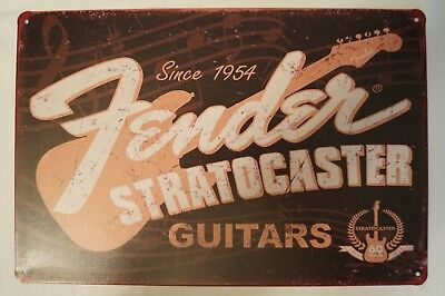RETRO STYLE TIN SIGN - Since 1954 - Fender Stratocaster Guitars.