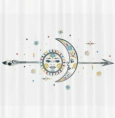 Sun Moon Shower Curtain Star Arrow Spiral Spiritual Ethnic Print