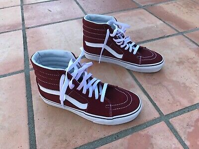 0bf29cc5a469 VANS SK8-HI RUMBA Red white Burgundy Maroon Suede Canvas - Mens 7.0 ...