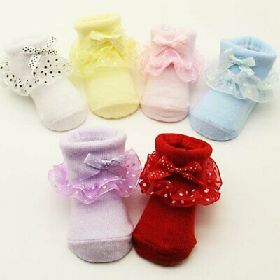 Baby Girl Tutu Socks Bow Lace Newborn Infant Frilly Sock Cotton Short Socks