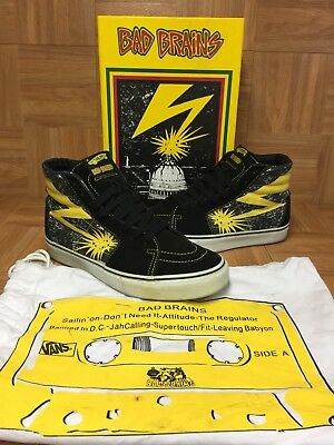 RARE🔥 VANS Sk8-Hi Bad Brains Supreme Sz 10 Black Cyber Yellow Men s Shoes 8b257352a