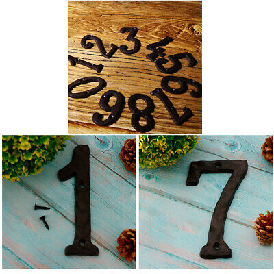 1 &7 Rustic Style Cast Iron Number Signs House Plaques ,with Vintage Nail