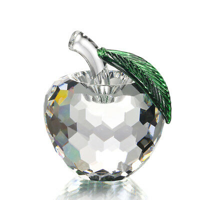 Clear Glass Apple Crystal Paperweight Figurine Glass Suncatcher Boxed Gift 60mm
