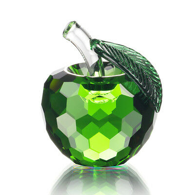 Glass Green Apple Figurine Crystal Paperweight Boxed Mother's Day Gifts 60mm