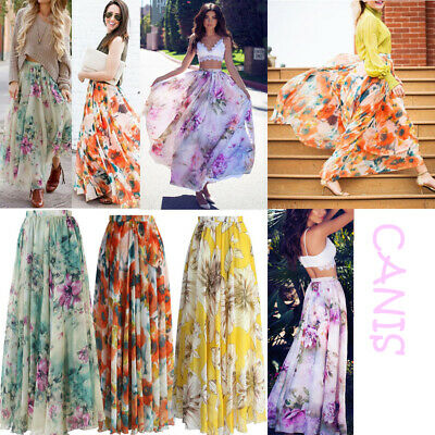 AU Women Ladies Chiffon BOHO Jersey Gypsy Long Maxi Full Skirt Beach Sun Dress