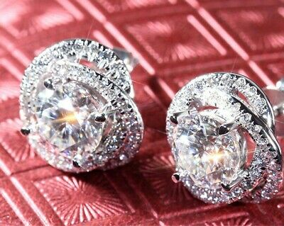 2.50ct Round Cut Diamond Knot Style Women's Stud Earring Solid 14k White Gold