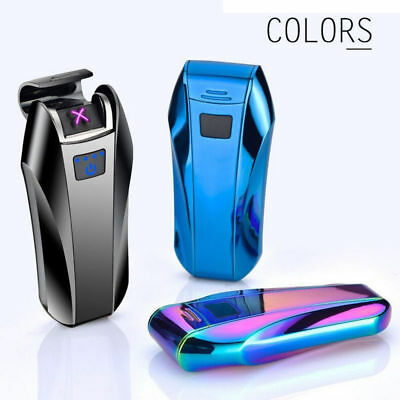 USB Electric Lighter Rechargeable Double Arc Flameless Plasma Windproof No Gas #