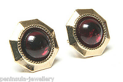 9ct Gold Garnet Stud earrings Gift Boxed Studs Made in UK