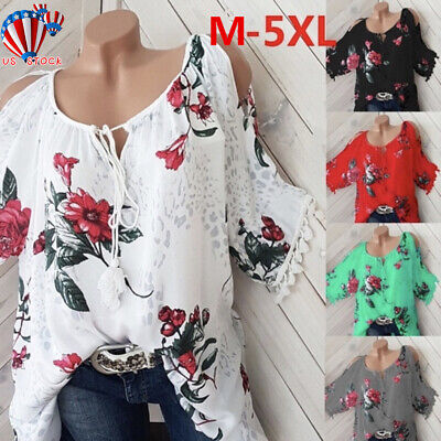 Womens Cold Shoulder Floral T Shirt Summer Ladies Loose Tops Blouse Plus Size US