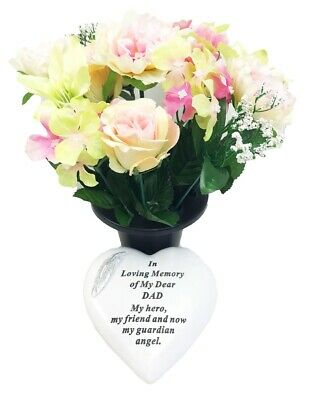 Grave Ornaments Dad Flowers Pot In Loving Memory Stone Graveside Memorial Plaque
