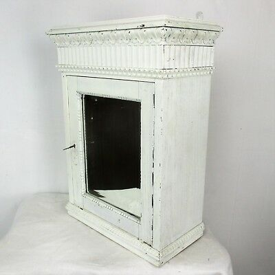 Vintage French Provincial White Wood Medicine Wall Cabinet Apothecary Romantic