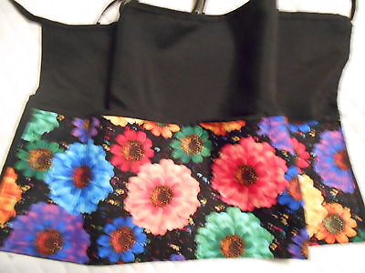 Bright Gala Flowers Black 3 POCKET WAITRESS WAIST APRON W/O Name Lady Pizazz
