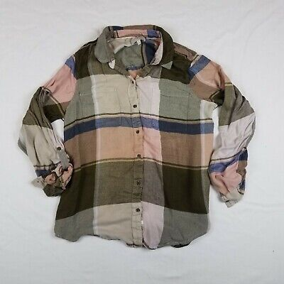 999040dd Lucky Brand Womens L Multicolored Olive Green Pink Light Flannel Button Up  Shirt