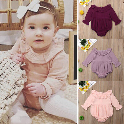 Cotton Newborn Toddler Baby Girl Halter Bodysuit Romper Jumpsuit Outfits Clothes
