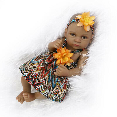 Reborn Doll Lifelike Vinyl Silicone Baby Accompany Toy with Black Skin Deluxe