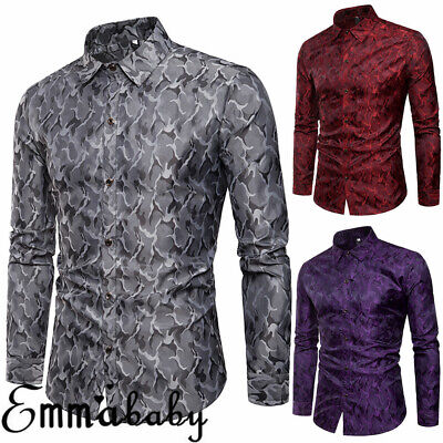 Men's Luxury Shirt Slim Business Formal Fit Dress Shirts Casual Long Sleeve Tops