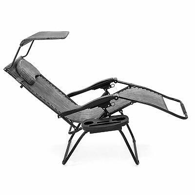 New Oversized Zero Gravity Reclining Lounge Patio Chairs w/Folding Canopy Shade