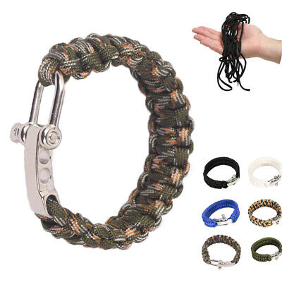 Handmade Outdoor Tools Braided Cord Rope Wristband Paracord Survival Bracelet