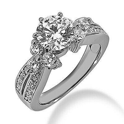 2.45 Ct Round Cut Solitaire W/Accents Engagement Ring 14k Real White Gold