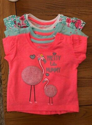 Primark Girls Pk 3 Flamingo T-Shirt Bnwt All Ages Tops Summer Holiday