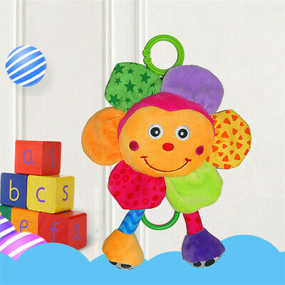 Plush Baby Soothing Towel Bell Cartoon Flower Music Rattles Crib Hanging Toys Z