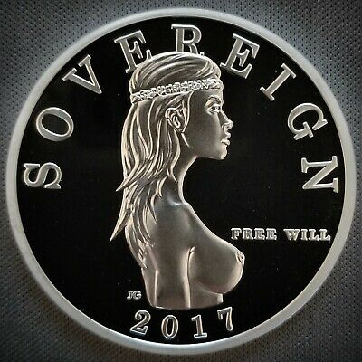 2017 Free Will Sovereign 1 Oz .999 Silver Proof-like Privy Round (Die scratches)