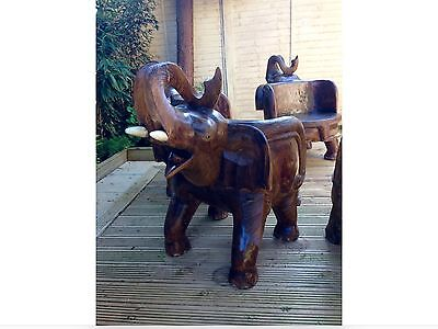 Antique Solid Mahogany Wood Curved Elephant Patio/Garden Throne Chair