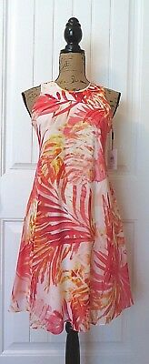1e60eb23a8d Calvin Klein Women s Swing Dress 4 White Pink Orange Tropical Leaf Chiffon   119