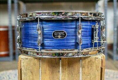 1970s Premier Olympic 5x14 Blue Silk Snare Drum