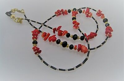 Spectacle Glasses Eyeglass Beaded Chain Red Coral & Black S064