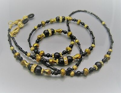 Spectacle Glasses Eyeglass Beaded Chain Black Agate & Gold Crystal S298