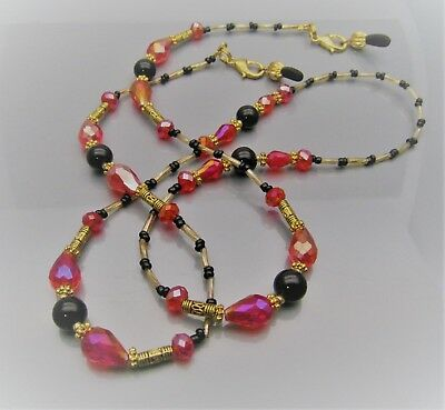 Spectacle Sunglasses Eyeglass Beaded Chain  Black Agate, Red & Gold S116