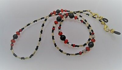 Spectacle Sunglasses Eyeglass Beaded Chain  Black, Red & Gold 068