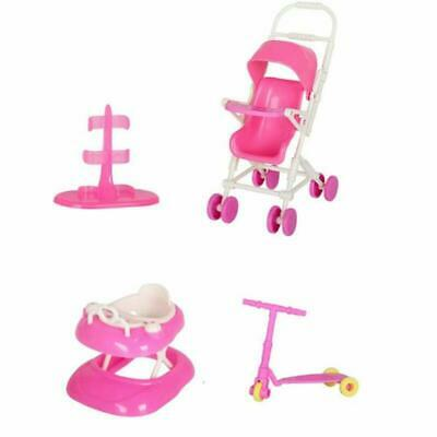 Doll Accessories Set Dollhouse Toy With Baby Stroller Walker Scooter Dolls Stand