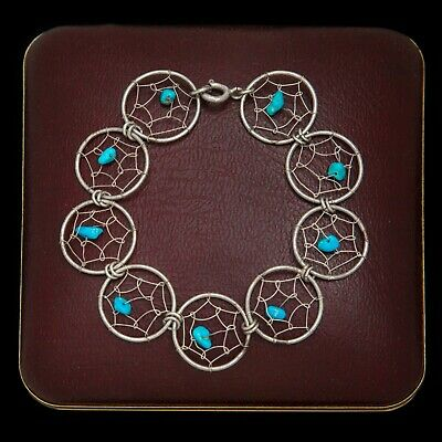 Antique Vintage Sterling Silver Native Navajo Dreamcatcher Turquoise Bracelet