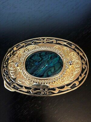 Gold Tone and Black Body Belt Buckle with Center Blue Green Wavy Piece