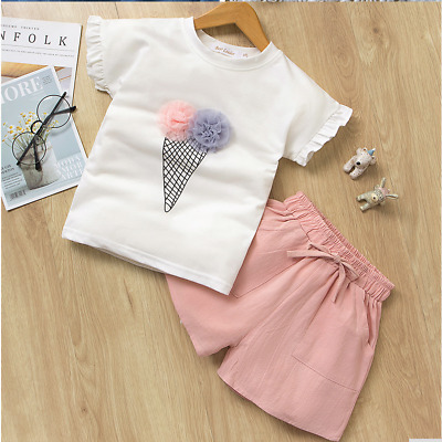Girls set 2 pcs Top Shorts sets Short sleeve Outfit Summer Set Age 2 3 4 5 6 7 y