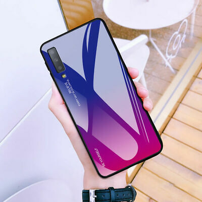 For Samsung Galaxy A9 2018 A7 Shockrpoof Gradient Tempered Glass Hard Case Cover