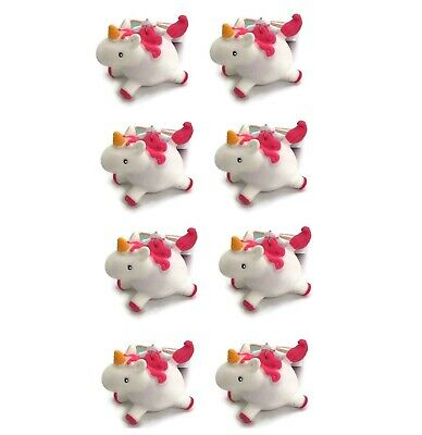 Set of 8 White Unicorn Pooping Keychains Party Favors