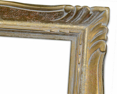 """Canadian Picture Frame 12.25"""" x 16.25"""" Vintage c. 1940s Carved Gold over Red & W"""