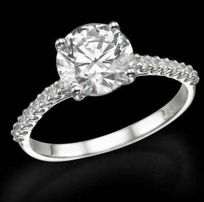 1.35 Ct F Vs Round Cut Diamond Solitaire Engagement Ring 14K White Gold Enhanced